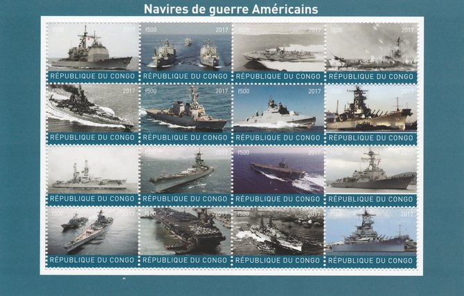 Congo 2017 Battle Ships of America perf sheetlet containing 16 values unmounted mint. Note this item is privately produced and is offered purely on its thematic appeal