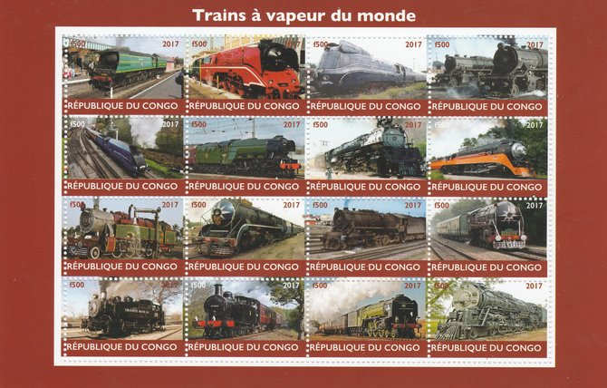 Congo 2017 Steam Trains of the World perf sheetlet containing 16 values unmounted mint. Note this item is privately produced and is offered purely on its thematic appeal, stamps on railways
