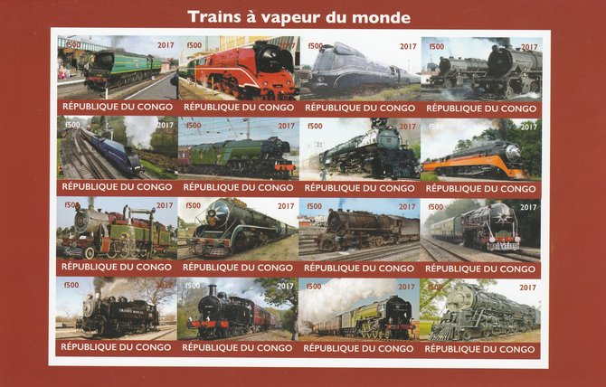 Congo 2017 Steam Trains of the World imperf sheetlet containing 16 values unmounted mint Note this item is privately produced and is offered purely on its thematic appeal, it has no postal validity