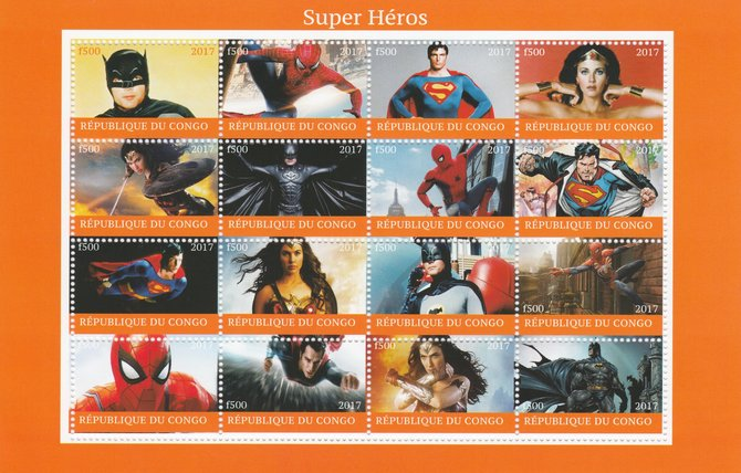 Congo 2017 Super Heroes perf sheetlet containing 16 values  (Superman, Batman, Spiderman & Wonder Woman) unmounted mint. Note this item is privately produced and is offered purely on its thematic appeal.