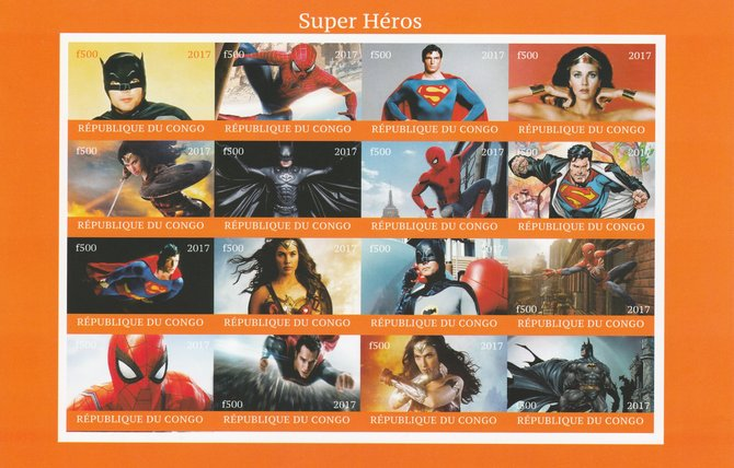 Congo 2017 Super Heroes imperf sheetlet containing 16 values unmounted mint (Superman, Batman, Spiderman & Wonder Woman) Note this item is privately produced and is offer...