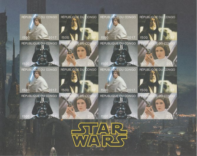 Congo 2017 Star Wars imperf sheetlet containing 16 values (4 setenant blocks of 4) unmounted mint Note this item is privately produced and is offered purely on its thematic appeal, it has no postal validity