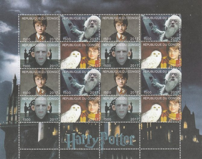Congo 2017 Harry Potter #1 perf sheetlet containing 16 values (4 setenant blocks of 4) unmounted mint. Note this item is privately produced and is offered purely on its thematic appeal