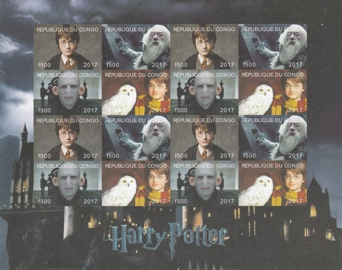 Congo 2017 Harry Potter #1 imperf sheetlet containing 16 values (4 setenant blocks of 4) unmounted mint Note this item is privately produced and is offered purely on its thematic appeal, it has no postal validity, stamps on films, stamps on cinema, stamps on movies, stamps on sci-fi, stamps on harry potter