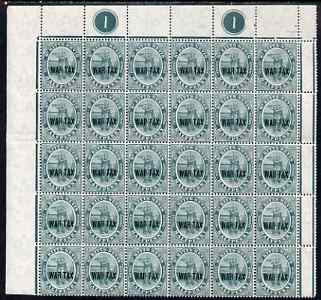 St Kitts-Nevis 1916 War Tax 1/2d green (Columbus) an impressive NW corner block of 30 with plate No.1, unmounted mint SG 22