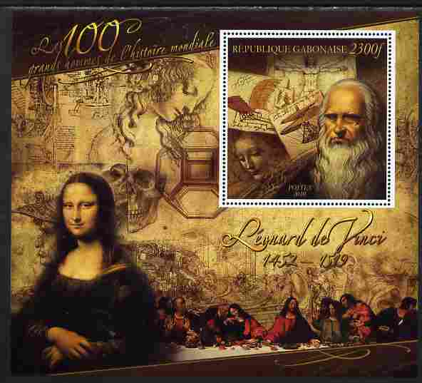 Gabon 2010-12 Greatest Personalities in World History - Leonardo da Vinci large perf s/sheet unmounted mint