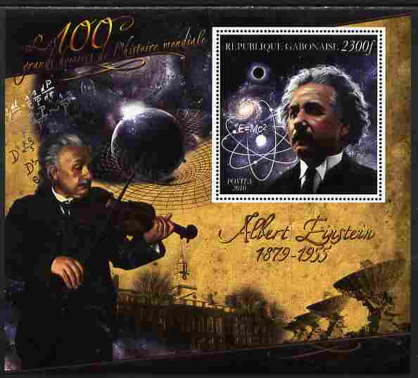 Gabon 2010-12 Greatest Personalities in World History - Albert Einstein large perf s/sheet unmounted mint