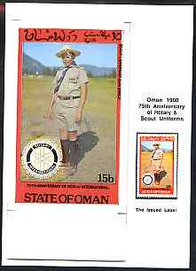 Oman 1980 75th Anniversary of Rotary - original artwork for 15b value (Scout Uniform of Guatemala) comprising coloured illustration mounted on board with lettering on tra...