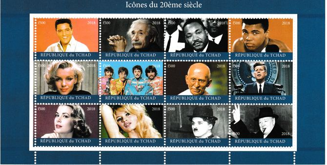 Chad 1018 Icons of 20th Century perf sheet containing 12 values unmounted mint. Note this item is privately produced and is offered purely on its thematic appeal. .