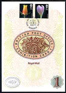 Great Britain 1987 Flower Photographs, the 31p & 34p values on Royal Mail Exhibition Card No.1 cancelled 13 June in Edinburgh plus special CAPEX cancellation with French text.