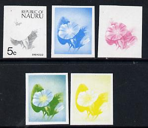 Nauru 1973 Plant (Erekogo) 5c definitive (SG 103) set of 5 unmounted mint IMPERF progressive proofs on gummed paper (blue, magenta, yelow, black and blue & yellow)