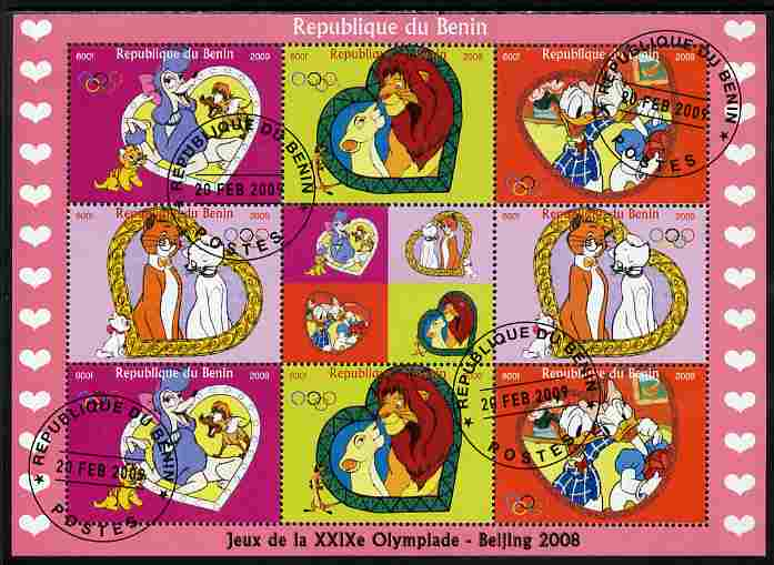 Benin 2009 Beijing Olympics #2 - Disney Characters perf sheetlet containing 8 values plus label fine cto used