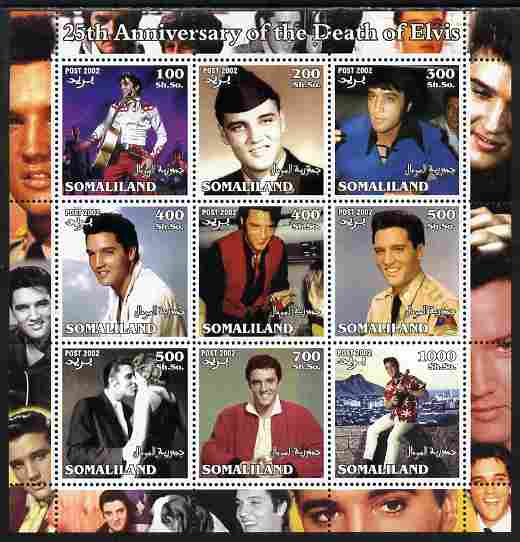 Somaliland 2002 25th Death Anniversary of Elvis Presley #1 perf sheetlet containing 9 values, unmounted mint. Note this item is privately produced and is offered purely on its thematic appeal