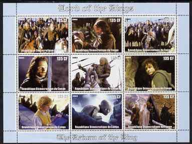 Congo 2003 Lord of the Rings - The Return of the King perf sheetlet containing 9 x 125 CF values unmounted mint