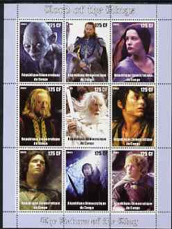 Congo 2003 Lord of the Rings - The Return of the King perf sheetlet containing 9 x 135 CF values unmounted mint