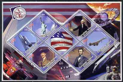 Easdale 2006 Washington Stamp Exhibition perf sheetlet containing 6 diamond shaped values (plus label) unmounted mint