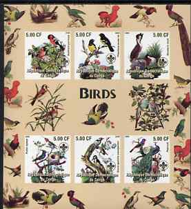 Congo 2005 Birds imperf sheetlet containing 6 values each with Scouts Logo unmounted mint