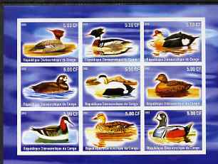 Congo 2002 Ducks imperf sheetlet containing 9 values unmounted mint
