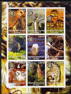 Congo 2002 Owls imperf sheetlet containing 9 values each with Rotary Logo unmounted mint