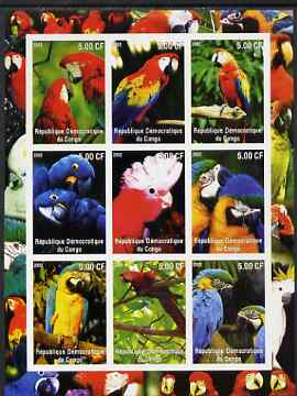 Congo 2002 Parrots imperf sheetlet containing 9 values unmounted mint