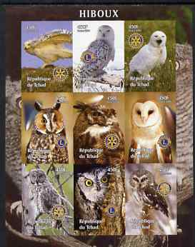 Chad 2004 Owls imperf sheetlet containing 9 values each with Rotary or Lions Int Logos unmounted mint