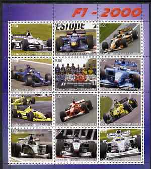 Karachaevo-Cherkesia Republic 2000 Formula 1 perf sheetlet containing 12 values unmounted mint