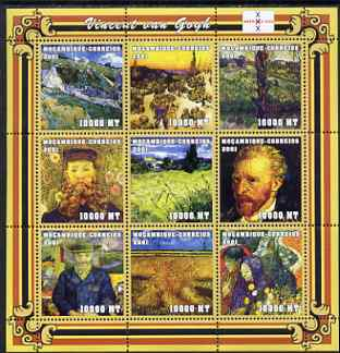 Mozambique 2001 Paintings by Vincent Van Gogh perf sheetlet containing 9 values unmounted mint with Amphilex Imprint (9 x 10,000 MT) Mi 2043-51, Sc 1488
