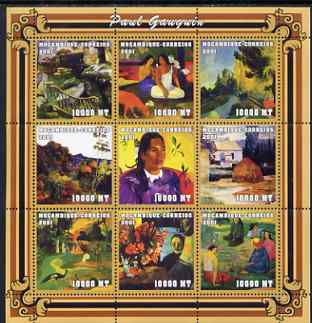 Mozambique 2001 Paintings by Paul Gauguin perf sheetlet containing 9 values unmounted mint (9 x 10,000 MT) Mi 2034-42, Sc 1484