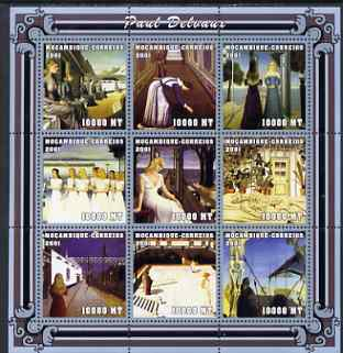 Mozambique 2001 Paintings by Paul Delvaux perf sheetlet containing 9 values unmounted mint (9 x 10,000 MT) Mi 2025-33, Sc 1483