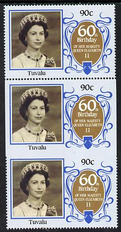 Tuvalu 1986 Queen's 60th Birthday 90c unmounted mint strip of 3, centre stamp imperf on 3 sides due to comb jump SG 382var (UH \A335)
