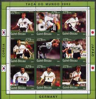 Guinea - Bissau 2001 Football World Cup (Germany) perf sheetlet containing 9 values (9 x 275 FCFA) unmounted mint Mi 1343-51
