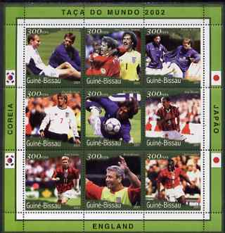 Guinea - Bissau 2001 Football World Cup (England) perf sheetlet containing 9 values (9 x 300 FCFA) unmounted mint Mi 1361-69