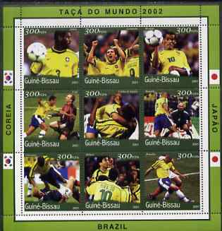 Guinea - Bissau 2001 Football World Cup (Brazil) perf sheetlet containing 9 values (9 x 300 FCFA) unmounted mint Mi 1370-78