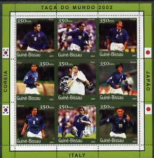 Guinea - Bissau 2001 Football World Cup (Italy) perf sheetlet containing 9 values (9 x 350 FCFA) unmounted mint Mi 1379-87