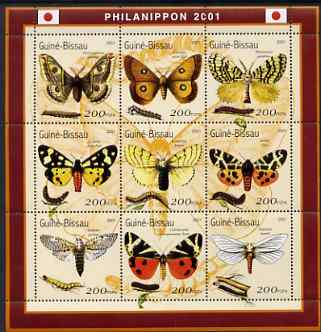 Guinea - Bissau 2001 Philanippon Stamp Exhibition - Butterflies perf sheetlet containing 9 values (200 FCFA) unmounted mint Mi 1490-98