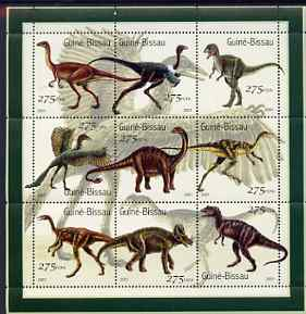 Guinea - Bissau 2001 Dinosaurs perf sheetlet containing 9 values (275 FCFA) unmounted mint Mi 1554-62