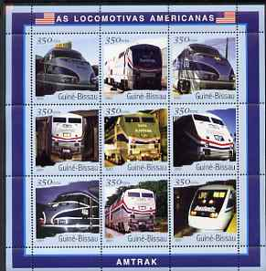 Guinea - Bissau 2001 Locomotives - Amtrak perf sheetlet containing 9 values (350 FCFA) unmounted mint Mi 1800-08