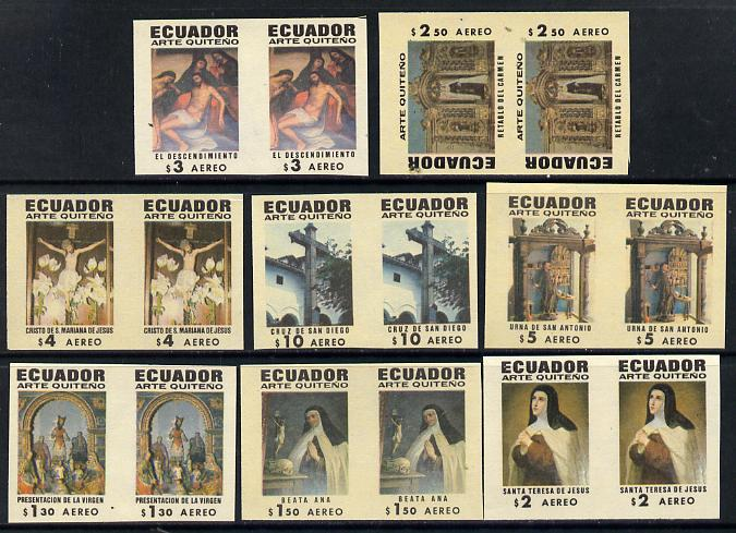 Ecuador 1971 Quito Religious Art set of 8 in unmounted mint IMPERF pairs (16 proofs) SG 1435-42
