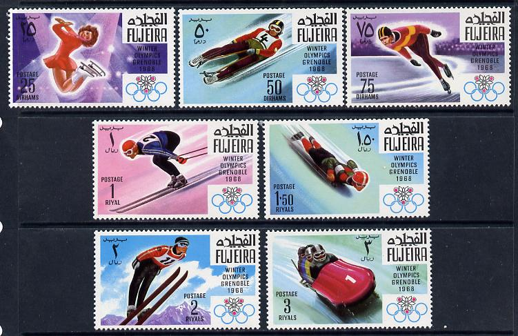 Fujeira 1968 Grenoble Winter Olympics perf set of 7 unmounted mint, Mi 214-20A