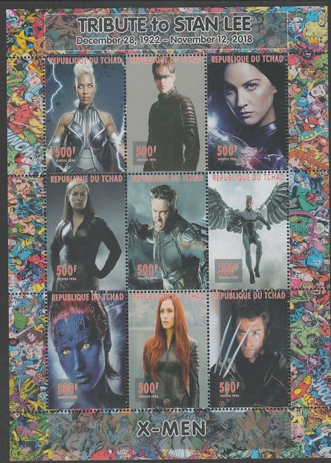 Chad 2018 Tribute to Stan Lee - X-Men perf sheetlet containing 9 values unmounted mint. Note this item is privately produced and is offered purely on its thematic appeal.