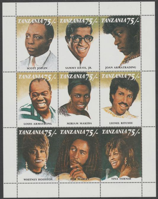 Tanzania 1992 Black Musicians & Singers perf sheetlet containing 9 values unmounted mint. Note this item is privately produced and is offered purely on its thematic appeal. .