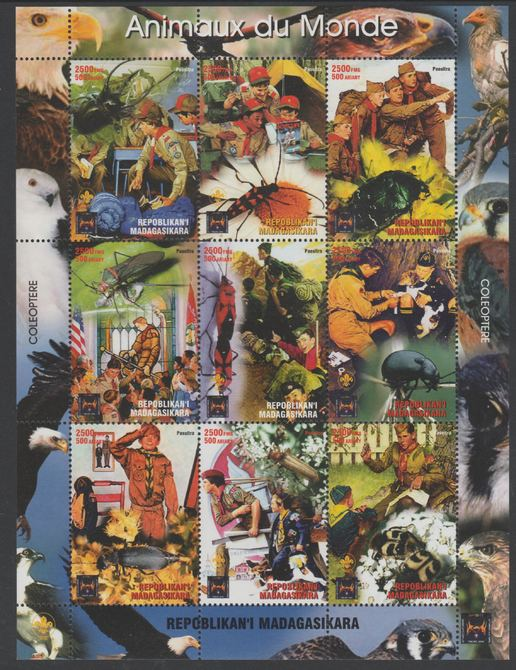 Madagascar 2005 Rockwell Scouts & Animals perf sheetlet containing 9 values unmounted mint. Note this item is privately produced and is offered purely on its thematic appeal. .