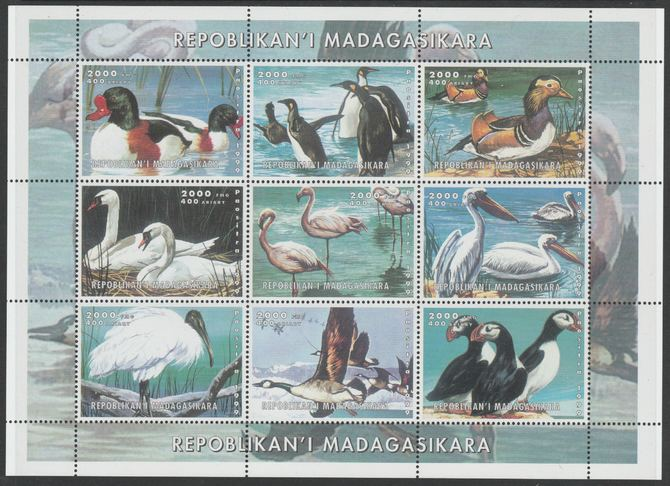 Madagascar 1999 Birds perf sheetlet containing complete set of 9 values unmounted mint. Note this item is privately produced and is offered purely on its thematic appeal, it has no postal validity