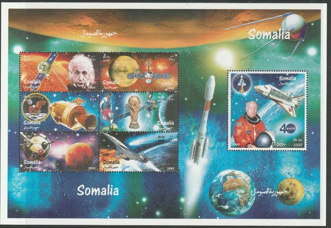 Somalia 1999 Space perf sheetlet containing 7 values unmounted mint. Note this item is privately produced and is offered purely on its thematic appeal, it has no postal validity
