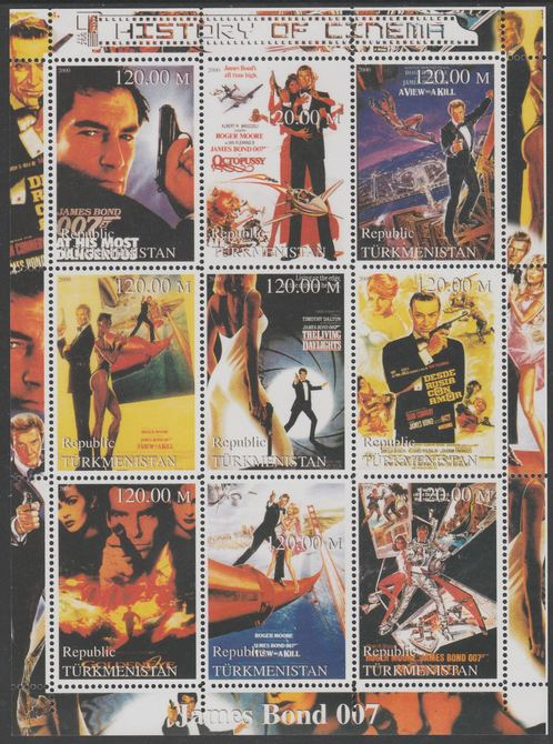 Turkmenistan 2000 History of the Cinema - James Bond perf sheetlet containing 9 values unmounted mint. Note this item is privately produced and is offered purely on its thematic appeal, it has no postal validity