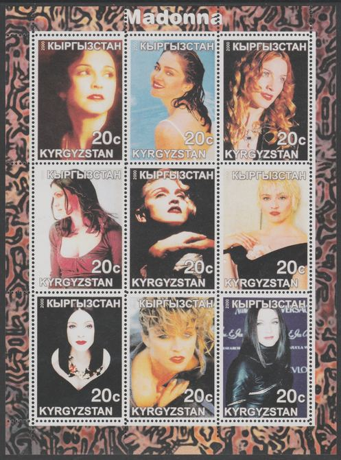 Kyrgyzstan 2000 Madonna perf sheetlet containing 9 values unmounted mint. Note this item is privately produced and is offered purely on its thematic appeal, it has no postal validity