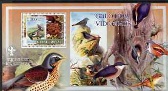 Guinea - Bissau 2007 Birds - Mixed Species large perf s/sheet containing 1 value (Scout logo in background) unmounted mint, stamps on birds, stamps on scouts, stamps on