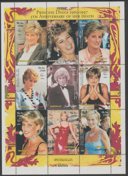 Somalia 2002 Fifth Death Anniversary of Princess Diana perf sheetlet containing 9 values unmounted mint. Note this item is privately produced and is offered purely on its thematic appeal, it has no postal validity