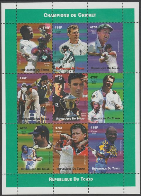 Chad 2002 Cricket Champions perf sheetlet containing 9 values unmounted mint. Note this item is privately produced and is offered purely on its thematic appeal, it has no postal validity