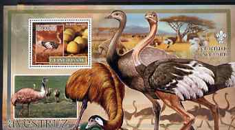 Guinea - Bissau 2007 Birds - Ostriches large perf s/sheet containing 1 value (Scout logo in background) unmounted mint